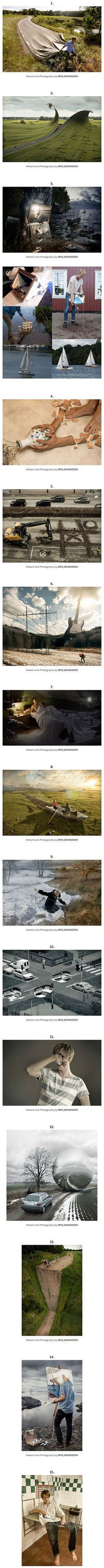 Erik Johansson is a full-time photographer and retoucher from Sweden, now based in Berlin, Germany. The wildly successful artist does both personal and commission work for big brands around the world. Here's a small sample of Erik's artwork.