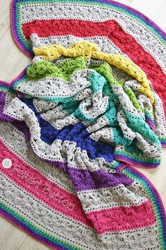 crochet blanket pattern. I love the neutral color with the bright colors.
