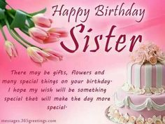 Sister Happy Birthday Quotes Cards For To My