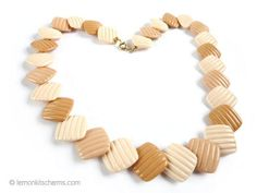 Vintage Avon Brown Beige Beaded Necklace Jewelry 1980s