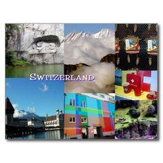 Switzerland Photo Collage Post Card by Celeste Sheffey (sold in France!) merci