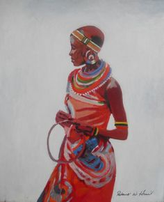African Lady In Red Painting  - African Lady In Red Fine Art Print
