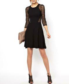 Black Lace Split Joint Slim Fit Elastic Cutout Dresses