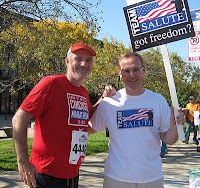 I'm on the left with a member of Team Salute--2010 Chicago Marathon