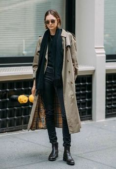 it girl - trench-coturno-cachecol-preto - trenchcoat - inverno - street style Mode Outfits, Grunge Outfits, Winter Outfits, Fashion Outfits, Womens Fashion, Fashion Trends, Fashion Boots, Fashion Ideas, Dress Fashion