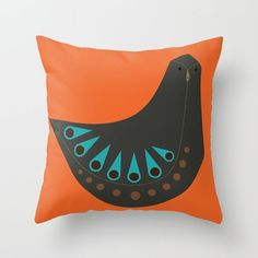 Throw Pillow made from 100% spun polyester poplin fabric, a stylish statement that will liven up any room. Individually cut and sewn by hand, the pillow measures 20 x 20, features a double-sided print and is finished with a concealed zipper for ease of care. Includes faux down pillow insert.   From a series called Mid-century Tweets, these are hand drawn birds inspired by the era. This pillow if from a set of 9.