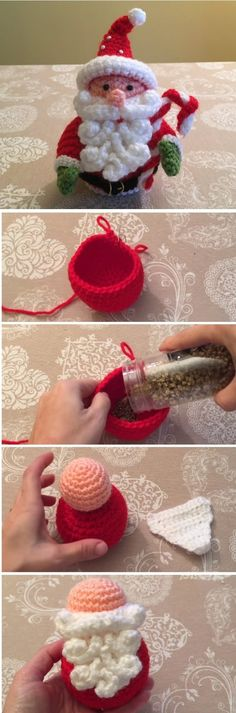 amigurumi tutorial We have already learned how to crochet a beautiful jingle bell and a unique Santa applique all in our previous tutorials. Today we are going to add up to our Chr Crochet Santa, Crochet Amigurumi, Crochet Gifts, Amigurumi Patterns, Crochet Dolls, Diy Crochet, Cat Amigurumi, Unique Crochet, Beautiful Crochet