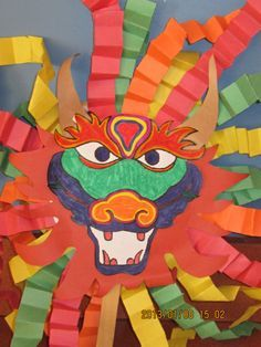Dragon mask for Chinese New Year Interior Design Ideas, Awesome Colorful Chinese New Year Paper Craft For Preschool With Chinese Dragon Design: Wonderful Chinese New Year Cr. Chinese New Year Crafts For Kids, Chinese New Year Dragon, Chinese New Year Activities, Chinese Crafts, Chinese Art, Art For Kids, Nouvel An Chinois Diy, New Year's Crafts, Paper Crafts