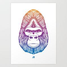 Gradient Ape Art Print by Josh Dominguez - $20.00