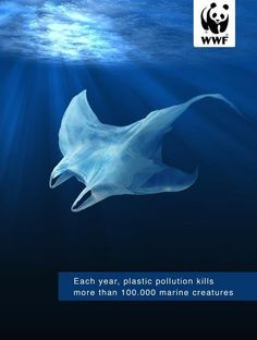 Publicité - Creative advertising campaign - WWF: Each year, plastic pollution kills more than 100 000 marine creatures Ocean Pollution, Plastic Pollution, Water Pollution Poster, Creative Advertising, Save Planet Earth, Save The Earth, Save The Planet, What Is Fashion Designing, Graphisches Design