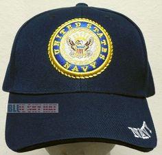 16b38becba1 New deluxe embroidered u.s. navy naval usn insignia logo emblem baseball  cap hat