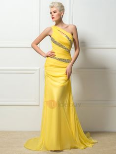Tidebuy.com Offers High Quality Hot Selling One-Shoulder Sheath Beading Long Sweep Train Evening Dress, We have more styles for Formal Evening Dresses (Free Shipping)
