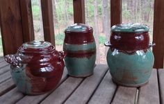 $84 - $120 Laguna Robin's Egg, Amaco FireBrick Red Coffers, Red Clay Pottery.  Pottery is my craft, but the Glazing is my Art. Coffer, Robins Egg, Stoneware, My Arts, Pottery, Ceramics, Clay Ideas, Red, Crafts