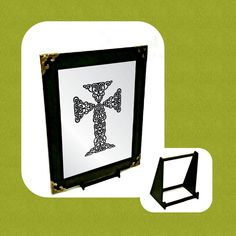 Celtic Cross Engraved Mirror Only Wall Hanger, Celtic, Adhesive, Mirror, Frame, Gifts, Stuff To Buy, Picture Frame, Presents