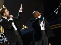 "Jay Z & Justin Timberlake: ""Suit & Tie"" from Celebrity Collaborations  After a six year music hiatus (JT was busy with acting and other business ventures), the award-winning singer partnered with the rapper to release ""Suit & Tie,"" the first single from his highly anticipated album."