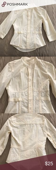 DIESEL Fitted top Super cute top! Straight neckline. Off-white color. Perfect with a pair of jeans and heels! 3/4 sleeves. Thicker material but not hot at all. Diesel Tops Button Down Shirts