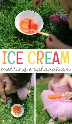 Learners practice recording steps in this summer-themed scientific read-aloud! Summer ice cream melting exploration for hands on learning with a free printable for children to record what they learned during the experiment. Engage In Learning, Toddler Learning Activities, Summer Activities For Kids, Science Activities, Preschool Ideas, Steam Activities, Science Ideas, Science Projects, Cool Science Experiments