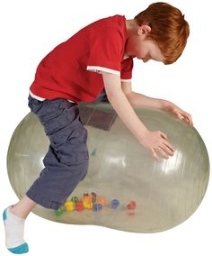 With twelve multi-coloured balls that come to life when you move, this transparent ball is great for home therapy. It can be used to promote three dimensional sight, balance and co-ordination as well as helping the development of muscles. The shape allows a therapist to sit on the ball and support the child's movements.  http://blossomforchildren.co.uk/mobility/238-physio-activity-roll-ball.html