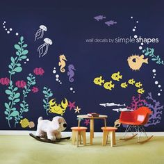 Transform your baby nursery or kids playroom into an underwater aquarium. Our Under the Sea wall decal collection introduces your little one to the wonders of marine life. All sea creatures are separa