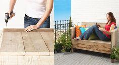 Aménager sa terrasse avec un banc en bois Créer facilement un banc en bois à partir de planches de récupération que vous pourrez agrémenter de coussins bien moelleux, un endroit idéal pour lire un bon bouquin ou lézarder confortablement au soleil.