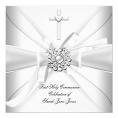 Girl First Holy Communion White Silver Invite.  $1.90