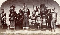 Vintage Nepal ~ Rare Old Pictures, Videos and Arts of Nepal      The Masqueraders in Kathmandu    Date Photographed: 1863-65 | Photographer: Clarence Comyn Taylor (The then Assistant British Resident)  Credit: © Royal Geographical Society (with IBG) | Collection: Vintage N