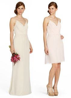 Pearl crinkle chiffon A-line bridesmaid gown, draped V-neck bodice with natural waist, soft gathered skirt. Occasions bridesmaids Fall 2013--Style JH5358