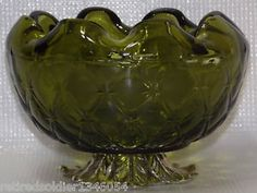Mint Vintage Indiana Glass Green Duette Quilted Diamond Waffle Rose Footed Bowl | eBay