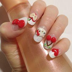 Red cherries and apples Hello Kitty naila rt. Latest Nail Designs, Cute Nail Designs, Fabulous Nails, Gorgeous Nails, Linda Nails, The Art Of Nails, Hello Kitty Nails, Cute Toe Nails, Kawaii Nails