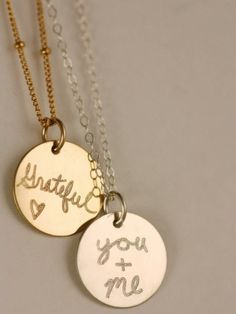 """""""Grateful"""" and """"You + Me""""  Love Notes Necklaces www.ericasaradesigns.com/love-note"""