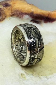 Handcrafted Morgan dollar coin ring silver, antiqued or polished finish Silver Dollar Coin, Morgan Silver Dollar, Mens Silver Rings, Sterling Silver Jewelry, Coin Ring, Coin Jewelry, Unique Rings, Statement Rings, Piercings