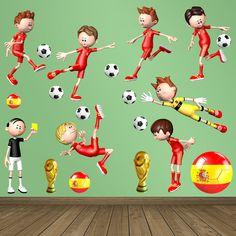 Vinilos Decorativos: kit jugadores Selección Española. Vinilo decorativo infantil en kit de fútbol. #vinilosdecorativos #decoracion #patrones #mosaico #futbol #teleadhesivo