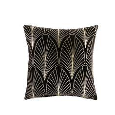 Coussin en velours noir motifs graphiques dorés 45x45   Maisons du Monde
