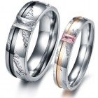 OPK Fashion Couple Rings Stainless Steel Wedding Band Promise Love Shine Crystal 327 (Women's Rings, 9)