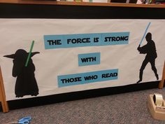 The force is strong with those who use their strategies School Library Displays, Middle School Libraries, Library Themes, Elementary Library, Library Books, Library Decorations, Library Ideas, Star Wars Classroom, Classroom Themes