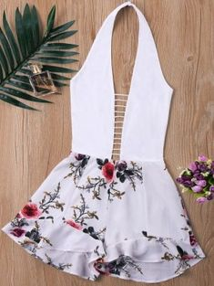 Ladder Low Cut Floral Panel Romper - White S