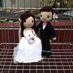 Crochet wedding dolls
