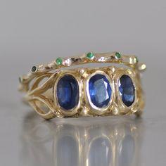 Set Of Gold Rings  Gemstones Rings  Tow Gold by malkaravinajewelry