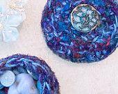 Garden Inspired Box - Handmade OOAK Decorative Silk Tapestry Jewelry Holder - Unique Gift - Blue Clematis Flower - Aquamarine Purple