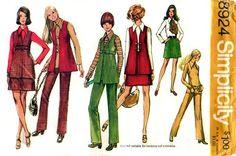 Simplicity 8924 Snazzy Vest, Mini-Skirt, Blouse & Pants 1970