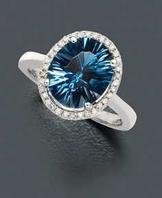 14k White Gold London Blue Topaz (4 ct) and Diamond Ring
