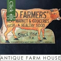 Our collection of farmers market decor and flea market decor brings you cow signs, hanging scale clocks, ceramic eggs and much more all inspired by a farmers market. For more home decorating ideas visit Antique Farmhouse.
