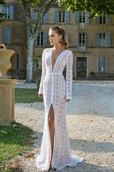 julie vino fall winter 2015 provence bridal collection julieta long sleeve wedding dress deep v neck