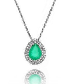 colar de gotinha esmeralda semi joias online de qualidade