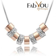 Fab You Designs Crystal 9 Circle Crystal Pendant With Silver Snake Chain