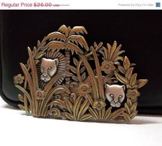Lions in Jungle JJ pin pewter cats by dollherup on Etsy, $23.40 #Jewelry