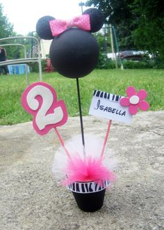 minnie mouse zebra centerpiece by Amaggiolo on Etsy, $10.00