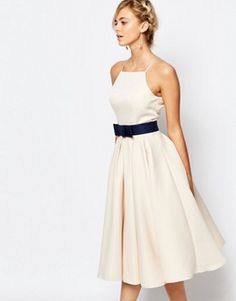 Buy Chi Chi London High Neck Midi Prom Dress with Full Skirt at ASOS. Get the latest trends with ASOS now. Chi Chi, White Cocktail Dress, White Midi Dress, Cocktail Dresses, Pastel Prom Dress, Pastel Dresses, Full Midi Skirt, Robes D'occasion, Glamour