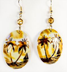 1288+ - Shell earrings, shell jewelry, palm tree earrings, pale golden crystals, shells, south pacific, palm trees, beach earrings, beach