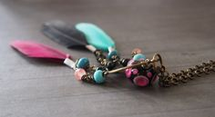 Bohemian Dream Catcher Necklace, Spiritual Necklace, Boho Gypsy Jewelry, Lampwork Glass, Feather, Pink, Turquoise, Red, Crystal Necklace by LaSistaBeads on Etsy